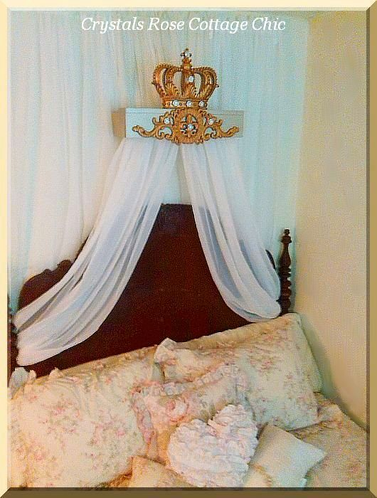 Champagne and Vintage Gold Fleur de Lis Bed Crown Teester