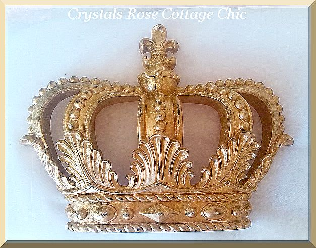 Vintage Gold Glitter Distressed Fleur de Lis Crown...Color Choices