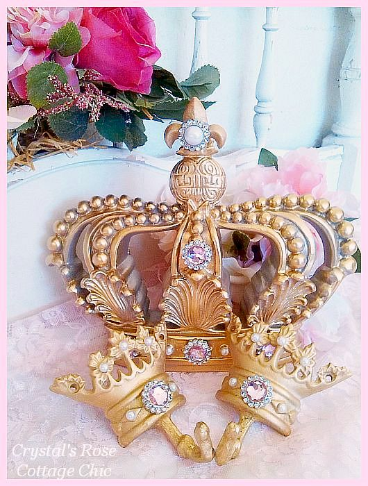 Vintage Gold Fleur de Lis Bed Crown Set .....Color Choices
