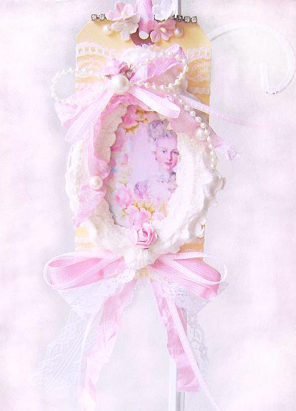 Pink Roses Vintage Marie Antoinette Tag