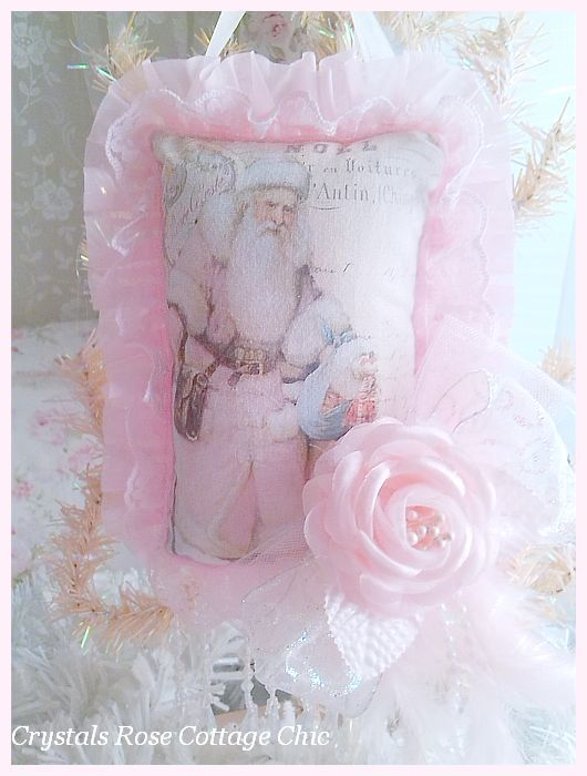 Victorian Pink Santa Decor / Ornament