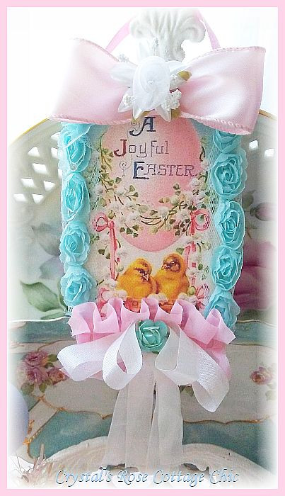 Vintage Pink Egg with Chicks Easter Hang Tag...Free Shipping