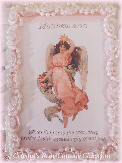 Matthew 2 verse 10 Pink Angel Ornament...Free Shipping