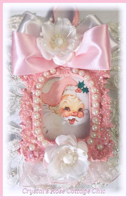 Vintage Pink Santa Glitter Ornament...Free Shipping