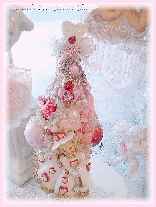 Vintage Valentine's Day Planter Bottle Brush Tree