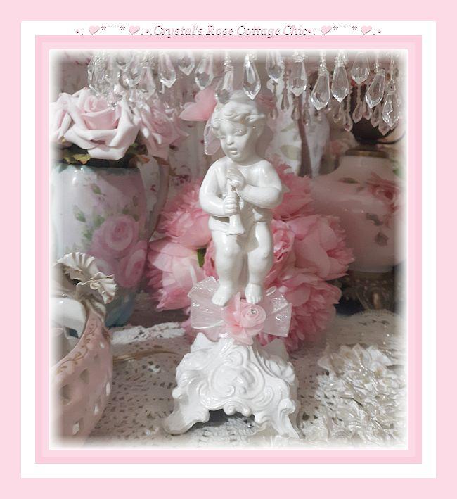 Shabby Chic Pink & White Vintage Cherub Lamp