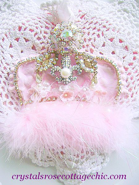 French Chic,Vintage Bejeweled, Shabby Pink, Fleur De Lis Crown