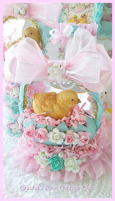 Vintage Easter Charm Chick in Egg Nest with Ruffles and Roses