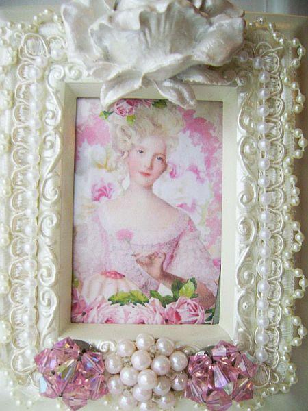 Ivory Rose Pearl Marie Antoinette framed