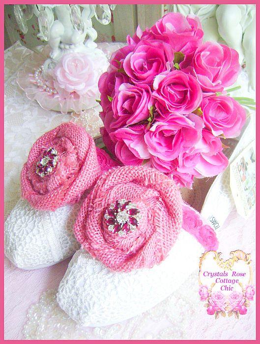 Rustic Country Bridal Toms Pink Burlap Roses and Rhinestones