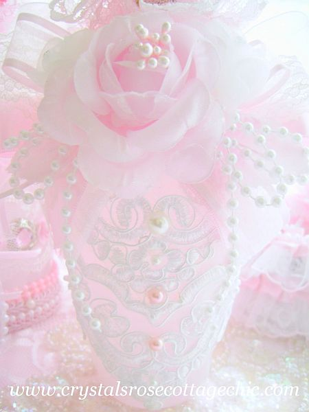 White Beaded Lace Pink Bottle