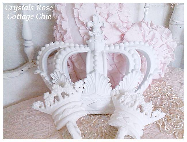 Shabby Cottage White Fleur de Lis Bed Crown Set
