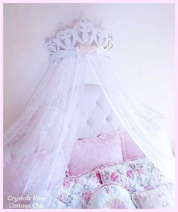Princess Heart Bed Crown Canopy White with shabby pink