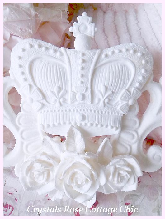 Shabby Roses and Crown Scrolling Applique