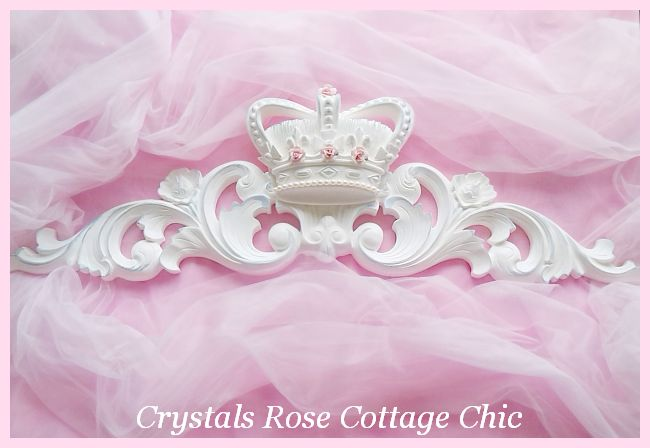Shabby Pink Rose Distressed White Pediment