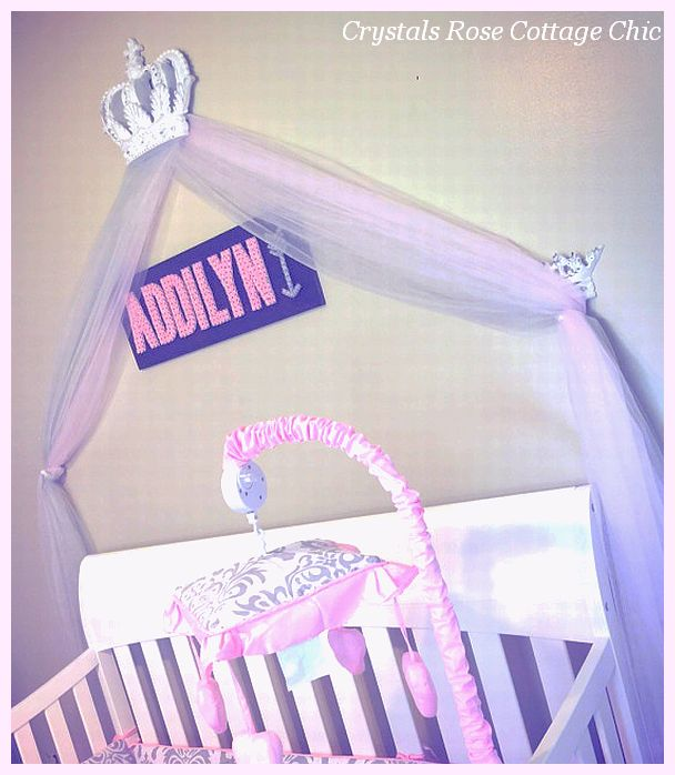 Distressed White Bed Crown Canopy Crib Nursery Princess Pink Grey