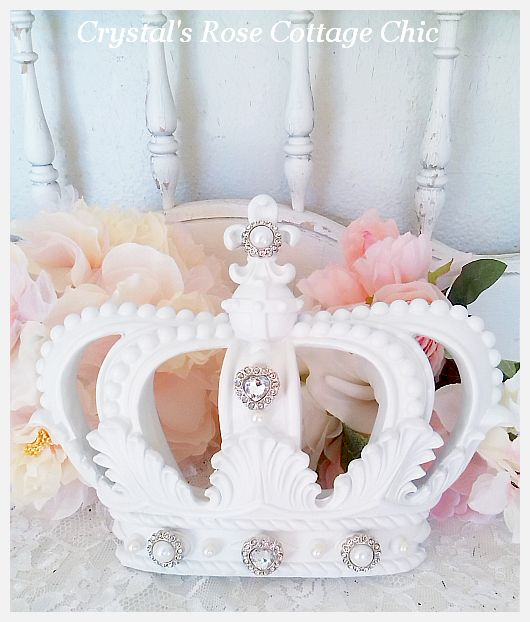 White Fleur de Lis Crown with White Pearls and Rhinestone