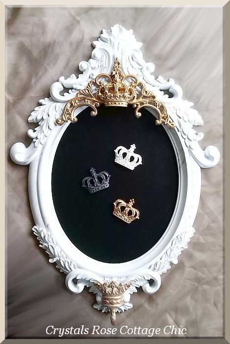 Ornate Oval Magnetic Chalkboard with Crown Hook..Color Choices