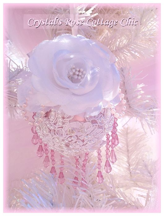 Shabby Chic Pink & White Rose, Lace Victorian Christmas Ornament