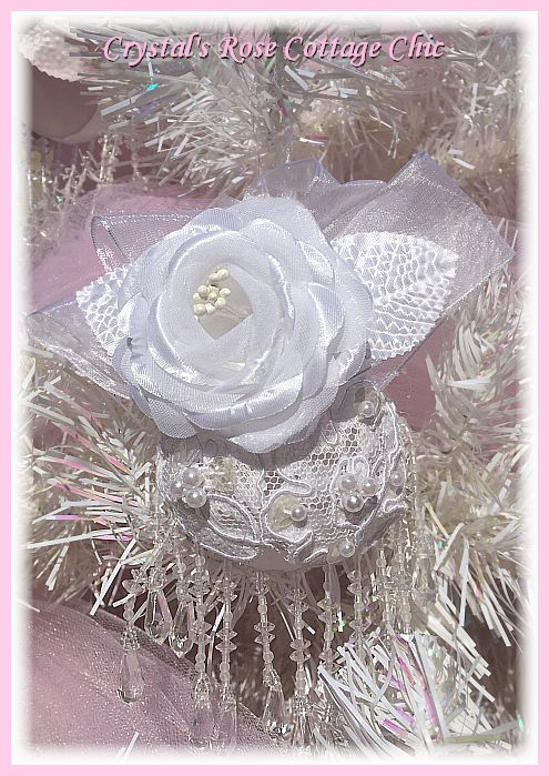 White Rose Victorian Ornament