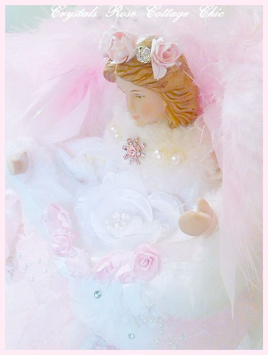 White Winter Rose Angel Tree Topper