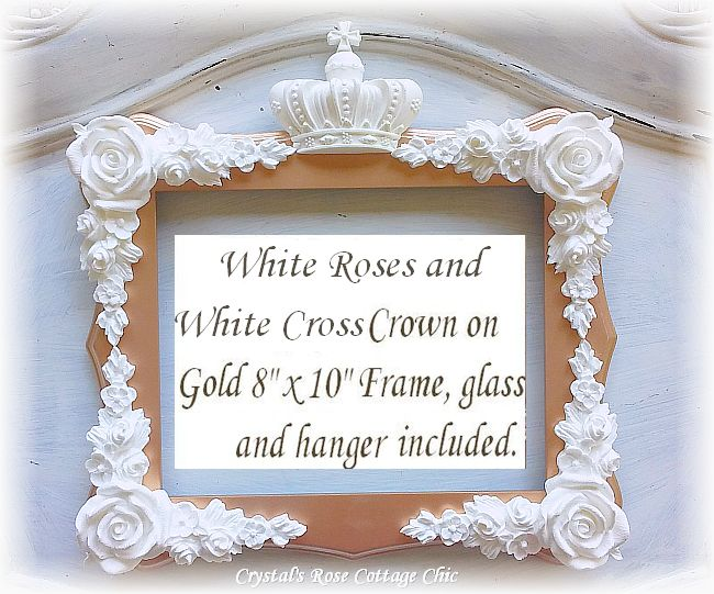 "Cross Crown and Roses 8"" x 10"" Frame...Color Choices"