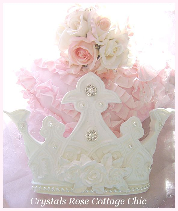 Shabby White Rose Crown