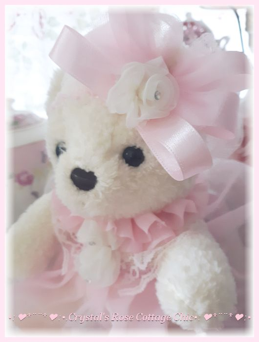 Sweet White Bear in Pink Tutu Dress with Lace...Free Shipping