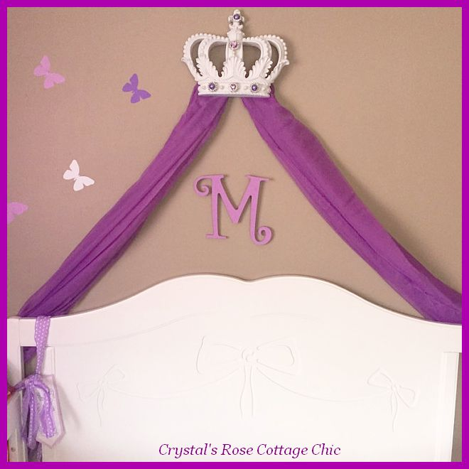 White and Purple bed crown canopy Fleur de Lis