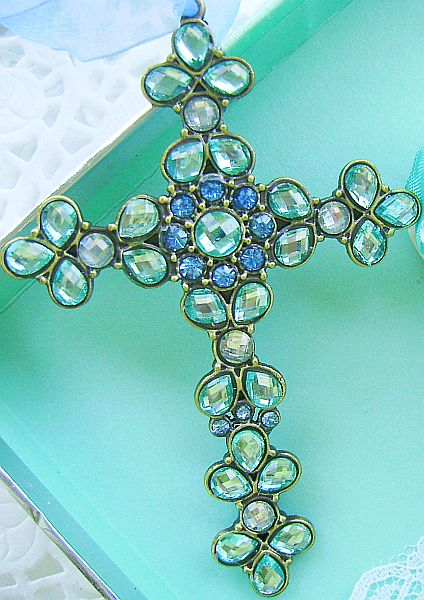 Beautiful Bejeweled Light Aqua Cross