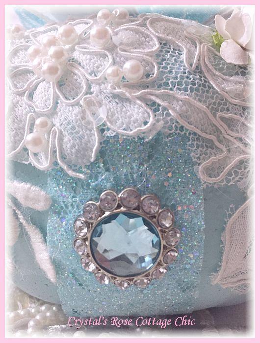 Beautiful Blue Rose and Lace Pumpkin