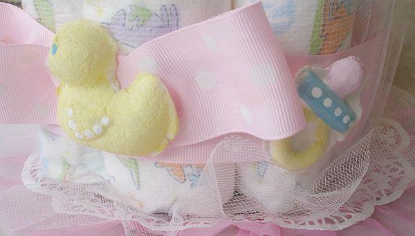 Sweet Pink Baby Cupcake Diaper Cake