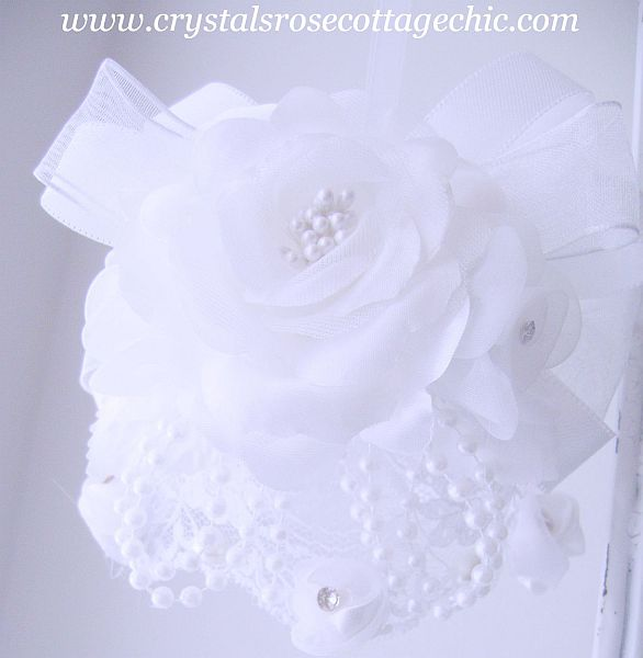 White on White Romantic Rose Bridal/Wedding Ornament