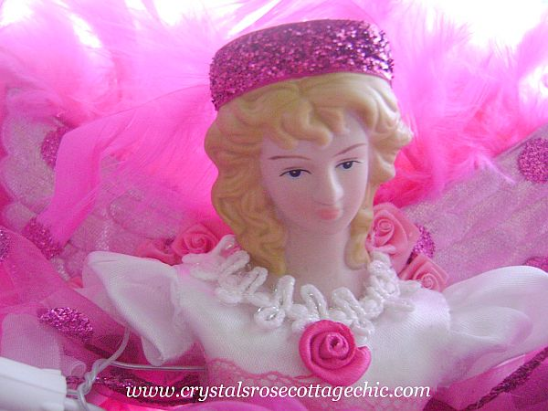Bright Pink Angel Christmas Tree Topper
