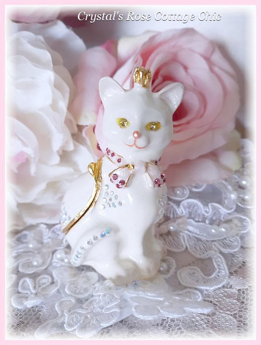Rhinestone Cat with Crown Jewelry/Trinket Box
