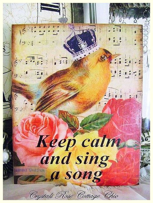 Keep Calm and Sing a Song Crowned Bird Canvas Print