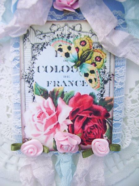 Vintage French Cologne Label Tag with Roses and Butterfly