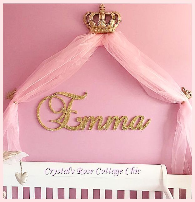 Gold Bed Crown Canopy Set Nursery Crib Decor