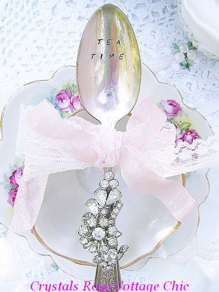 "Romantic Vintage Bejeweled Teaspoon, Hand Stamped ""Tea Time"""