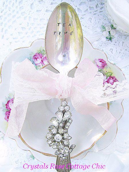 "Romantic Vintage Bejeweled Teaspoon, Hand Stamped ""Tea Time"""