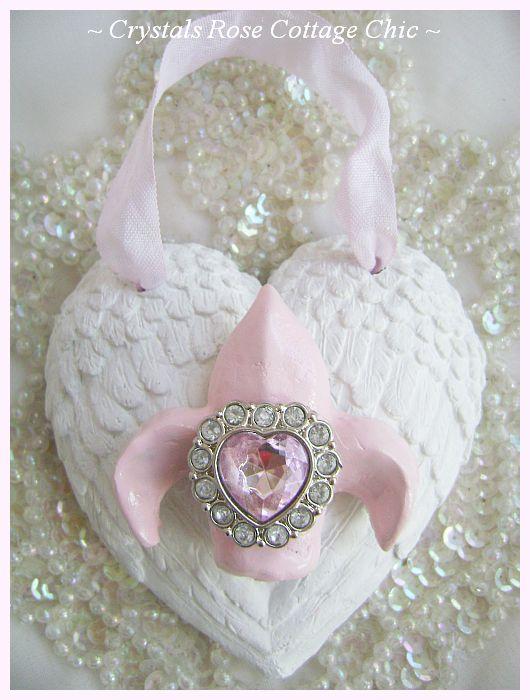 Fleur De Lis Angel Wings Heart Ornament