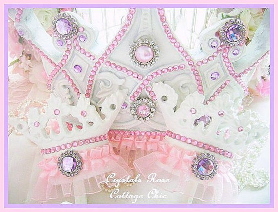 Pink and Lilac custom Pearl Princess bed crown canopy set