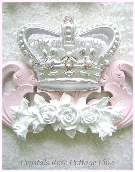Custom Crown Pediment with Roses and Sheers
