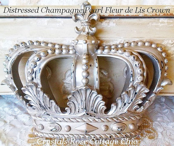 Champagne Distressed, Fleur de Lis  Bed Crown