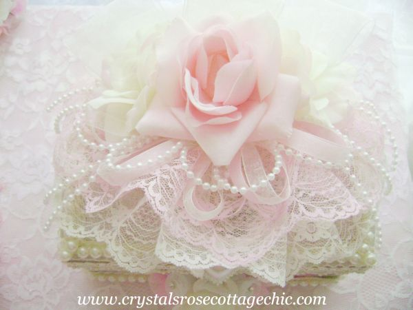 Ivory and Pink Rose Jewelry Box