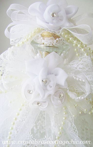 Ivory and  White Romantic Shabby Chic Bridal Bottle