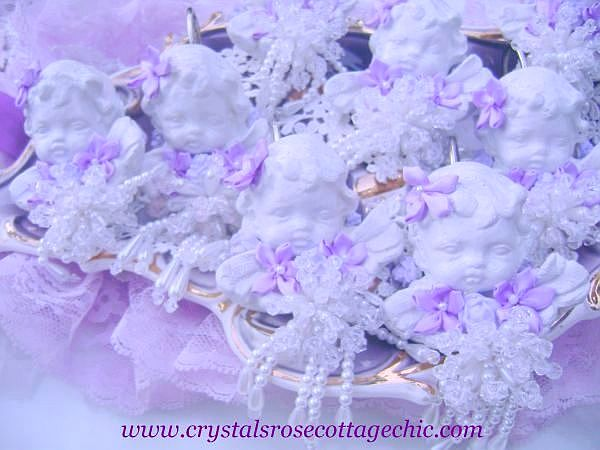 Shabby Cherub Rose Shower Curtain Hooks