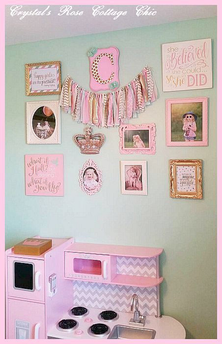 pink green girls room crown decor