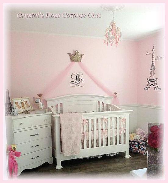 pink princess nursery bed crown canopy