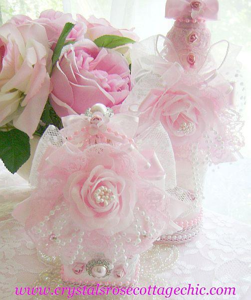 Embellished Pink Rose Bottle